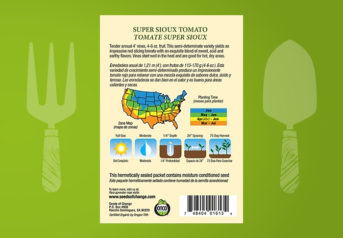 Seeds of Change® Organic Super Sioux Tomato Seeds Back of Pack