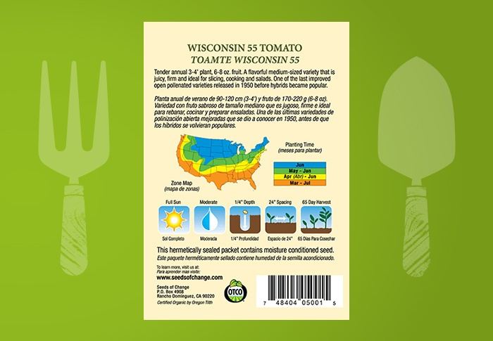 Seeds of Change® Organic Wisconsin 55 Tomato Seeds Back of Pack