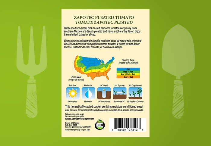 Seeds of Change® Organic Zapotec Pleated Tomato Seeds Back of Pack