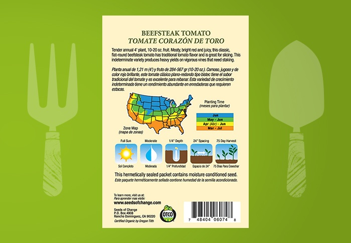 Seeds of Change® Organic Beefsteak Tomato Seeds Back of Pack