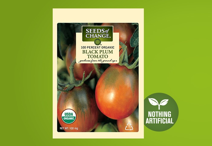 Seeds of Change® Organic Black Plum Tomato Seeds Front of Pack