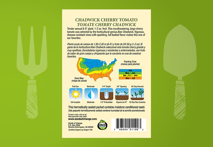 Seeds of Change® Organic Chadwick Cherry Tomato Seeds Back of Pack