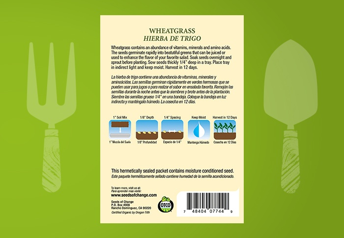 Seeds of Change® Organic Wheatgrass Seeds Back of Pack