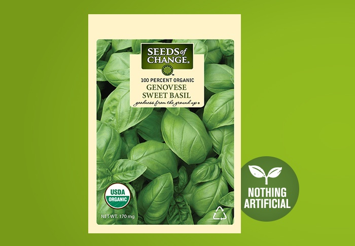 Seeds of Change® Organic Genovese Sweet Basil Seeds Front of Pack