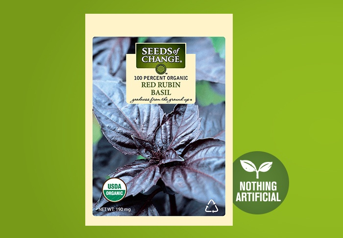 Seeds of Change® Organic Red Rubin Basil Seeds Front of Pack