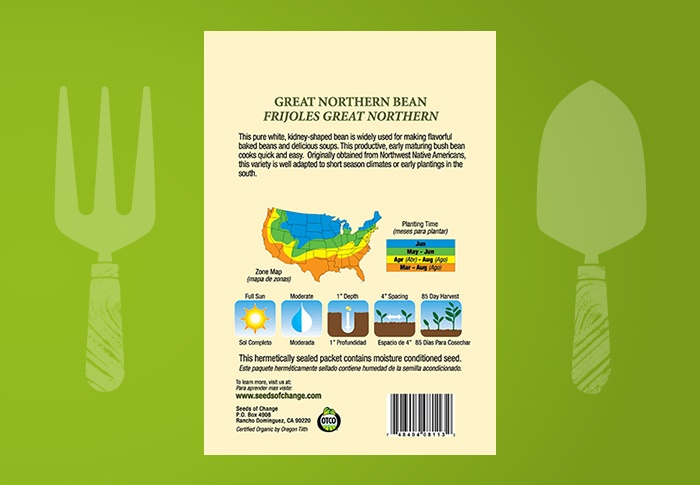Seeds of Change® Organic Great Northern Bean Seeds Back of Pack