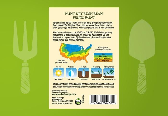 Seeds of Change® Organic Paint Dry Bush Bean Seeds Back of Pack