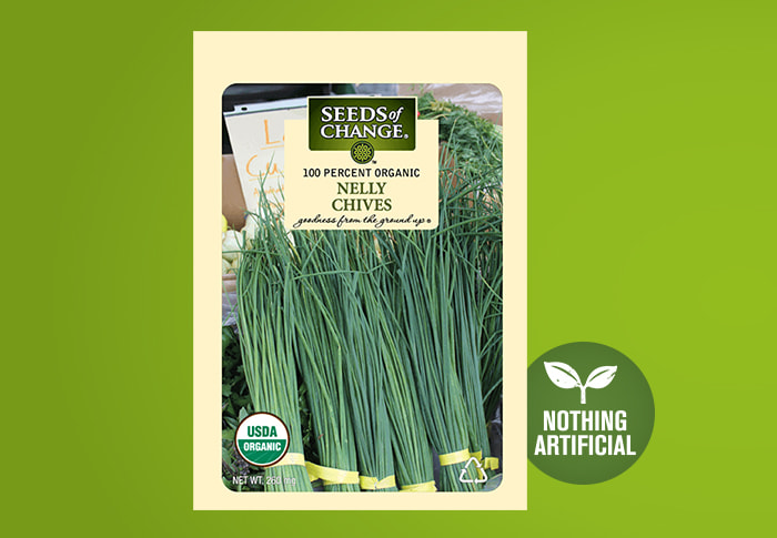 Seeds of Change® Organic Nelly Chive Seeds Front of Pack