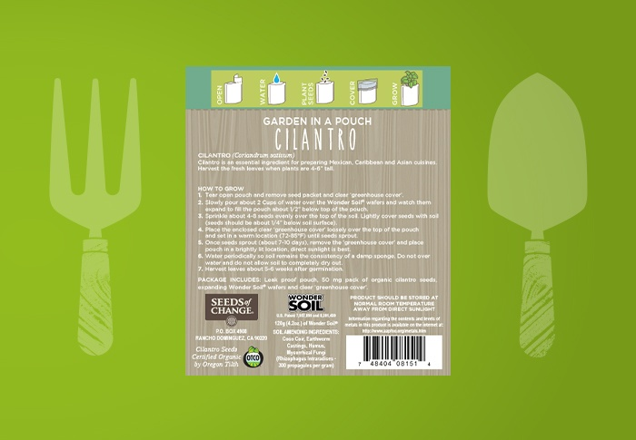 Seeds of Change® Organic Cilantro Garden in a Pouch Back of Pack