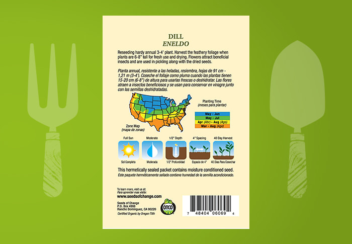 Seeds of Change® Organic Dill Seeds Back of Pack