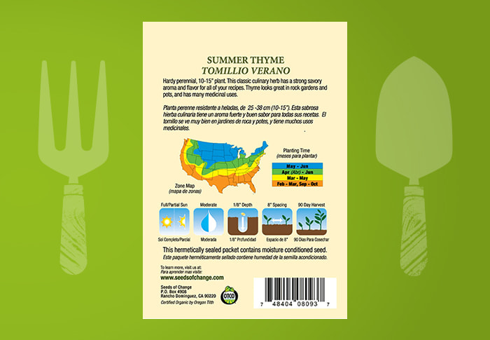 Seeds of Change® Organic Summer Thyme Seeds Back of Pack