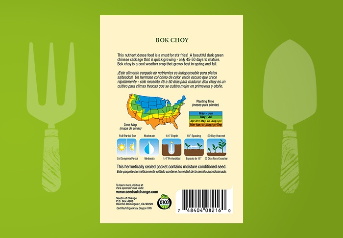 Seeds of Change® Organic Bok Choy Seeds Back of Pack
