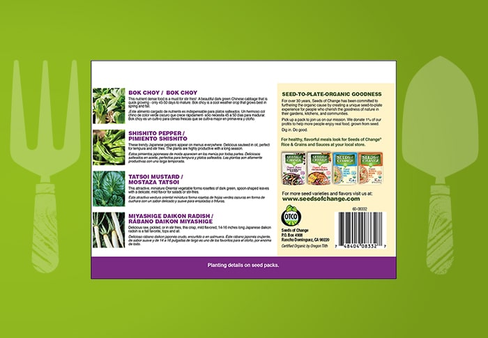 Seeds of Change® Asian Cuisine Collection Back of Pack