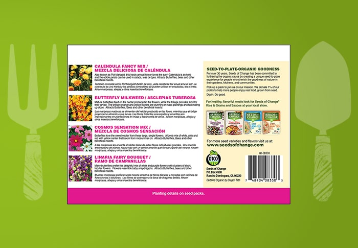 Seeds of Change® Butterfly Garden Collection Back of Pack