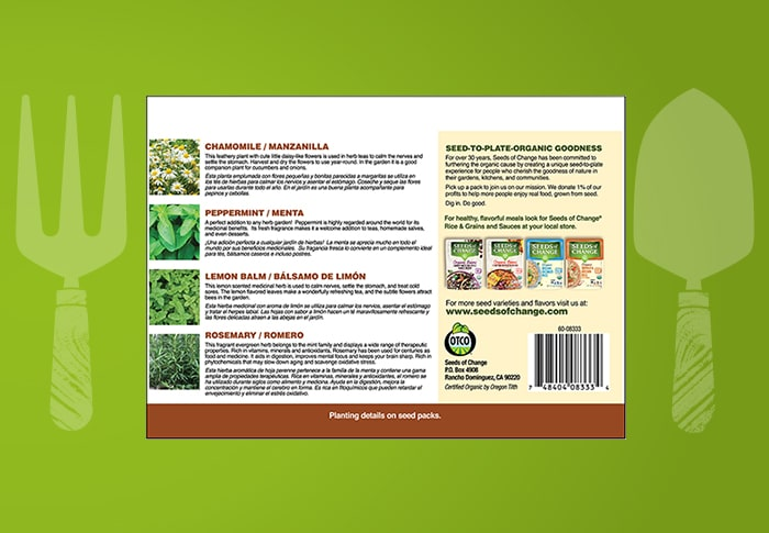 Seeds of Change® Herbal Tea Garden Collection Back of Pack