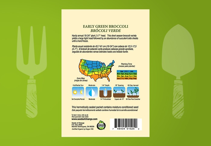 Seeds of Change® Organic Early Green Broccoli Seeds Back of Pack