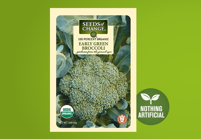 Seeds of Change® Organic Early Green Broccoli Seeds Front of Pack