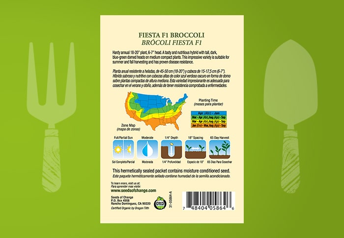Seeds of Change® Organic Fiesta Broccoli Seeds Back of Pack