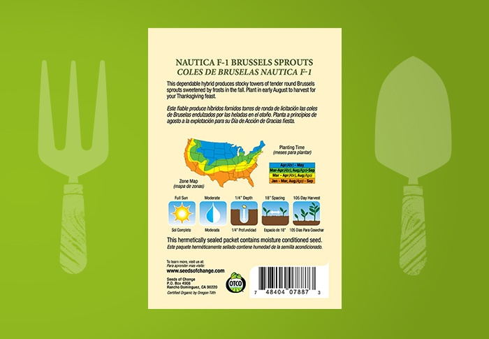 Seeds of Change® Organic Nautic Brussels Sprouts Seeds Back of Pack