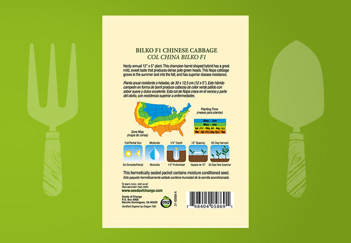 Seeds of Change® Organic Bilko Chinese Cabbage Seeds Back of Pack