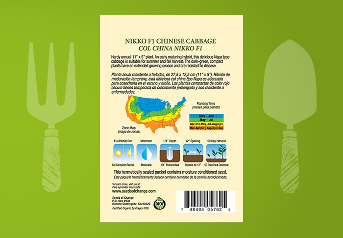 Seeds of Change® Organic Nikko Chinese Cabbage Seeds Back of Pack