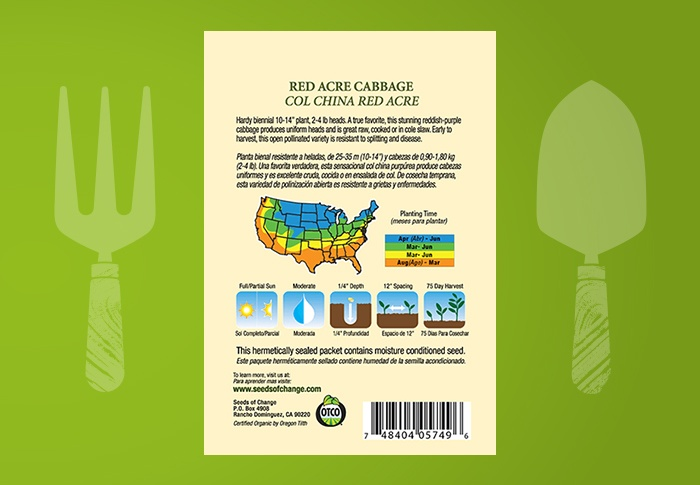 Seeds of Change® Organic Red Acre Cabbage Seeds Back of Pack