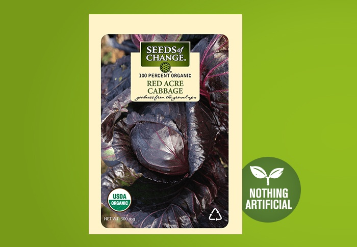 Seeds of Change® Organic Red Acre Cabbage Seeds Front of Pack